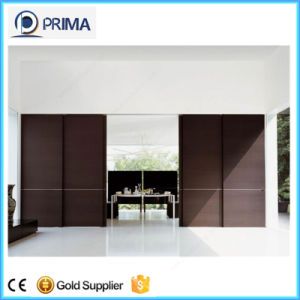 Double Sliding Solid Wooden Door with Carbon Steel Track pictures & photos