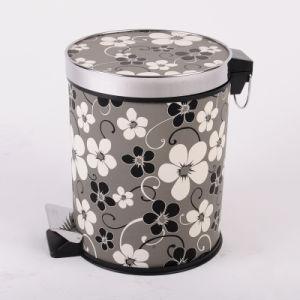 Grey Plum Flower Design Korea Style Step on Dustbin (A12-1901L)