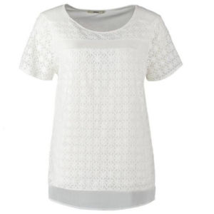 Wholesale Women′s Cotton White Carved T-Shirt (D300)
