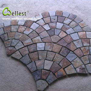 S015 Multi/Rustic/Rusty/Brown Slate Fan Shape Paving Stone for Garden pictures & photos