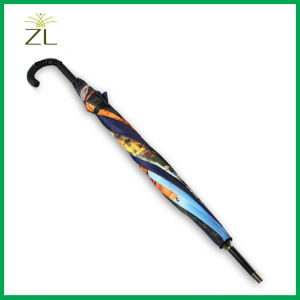 Tourism Product Top Quality 23′*8k Rubber Handle Beautiful Photo Custom Print Working Stick Umbrellas pictures & photos