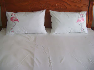 Pink Flamingos Embroidery Bedding Set pictures & photos