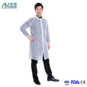 White Disposable Middle Long Lab Coat Nonwoven pictures & photos