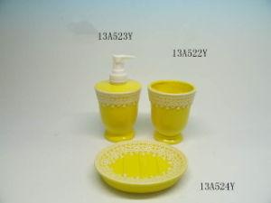 Holider Gifts, 3 PCS Ceramic Bathroom Accessories Set, Lotion Dispenser, Soap Dish, Tumbler