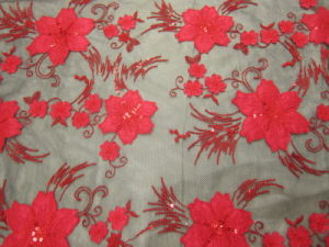 Chic Applique Embroidery Fabric for Evening Dress