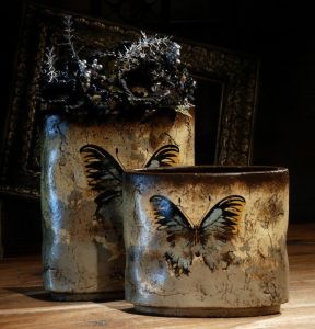 Home Furnishing Decor-Buterfly Painted Ceramic Vase