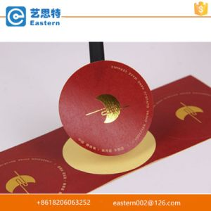High Quality Red Paper Stickers with Gold Stamped Logo pictures & photos