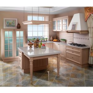 Country Age Classical L Shape PVC Kitchen Cabinets (OP11-X108) pictures & photos