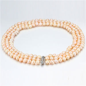 Snh Peach Color Hot Sale 925 Silver Pearl Necklace for Women
