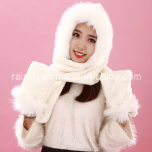 Adult Plush Scarves Hats Gloves Integrated Hat