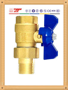 Live- Connecting Copper Ball Valve with Butterfly Handle
