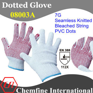 7g Bleached Polyester/Cotton Knitted Glove with Red PVC Dots/ En388: 112X pictures & photos