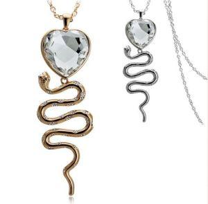 2013 Rhinestone Snake Love Heart Necklace Jewelry (NSL2974)