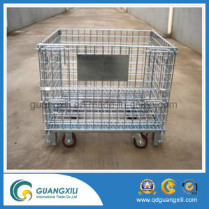Warehouse Storage Foldable Stacking Steel Wire Mesh Container with Casters pictures & photos