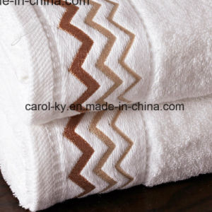 Cotton Bathroom Towel with Embroidery and Decoration Hem pictures & photos