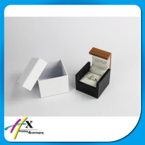Classical Small Wooden Ring Packaging Box with Velvet Insert pictures & photos