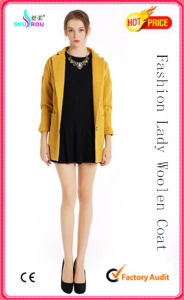Lady Fashion Sexy Long Sleeve Woolen Coat Overcoat Outerwear Garment Clothing Apparel (SR-5004)