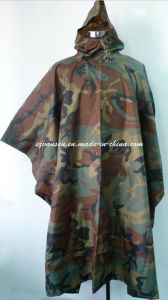 Army Camouflage Waterproof Breathable Poncho with PU Coating pictures & photos