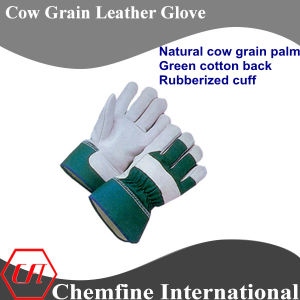 Natural Cow Grain Palm, Green Cotton Back, Rubberized Cuff Leather Work Gloves pictures & photos