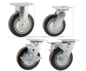 Heavy Duty Type New Double Pedal Brake PU Caster (KHX3-H1-A) pictures & photos
