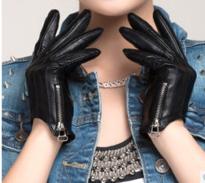 Women Short Leather Glove with Zipper (WTS880)
