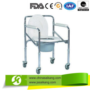 Supply Folding Commode Toilet Wheelchair with Cover and Bucket pictures & photos