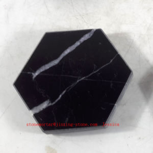 Black with White Strips Marble Coasters / Stone Drink Coasters /Beer Stone Hexagonal Coaster pictures & photos