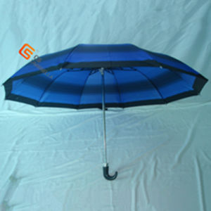 Two Fold J Handle Polyester Fold Umbrella (YS-2F1003A) pictures & photos
