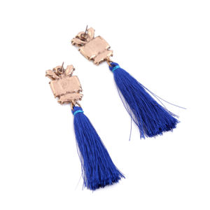 New Cheap Retro Inlaid Crystal Long Thread Tassel Alloy Earrings Flower Shaped Jewelry pictures & photos