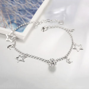Most Fashion 925 Sterling Steel Bracelet Moon and Star Shape Pendant Sterling Silver Bracelet pictures & photos