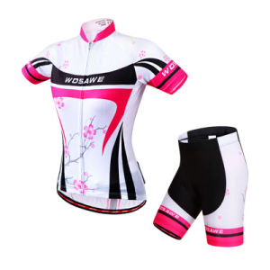 Custom Women Sublimated Short Sleeves Cycling Jersey and Shorts pictures & photos