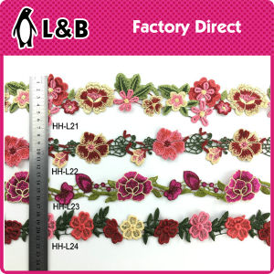 Beatuiful Popular Embroidery Flower Multicolor Lace pictures & photos