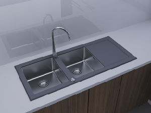 Double with Drainer of Black Glass Sink pictures & photos