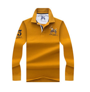 100% Cotton Men′s Long Sleeve Polo Shirt with Customized pictures & photos