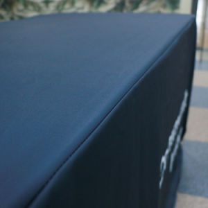 Custom Printed Fitted Stretch Rectangular Spandex Table Cover with Logo pictures & photos