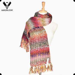 Fashion Iceland Yarn Multicolor Space Dyed Knitted Scarf pictures & photos