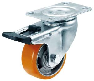 "3""/4"" PU on Aluminium Centre Caster with Double Brake pictures & photos"