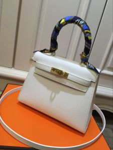 White Epsom Leather Ladies Bags Handbags Shoulder Bags Evening Bags 20cm