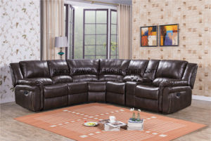 Living Room Sectional Corner Recliner Sofa with Storage Console, and Cup Holders pictures & photos