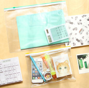 Environmental Protection Transparent PVC Waterproof Zipper Document Bag pictures & photos