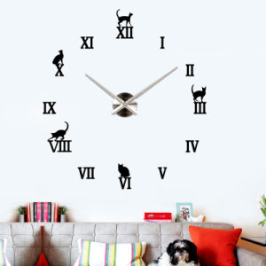 Decorative Wall Hanging Mirror Clock Frameless 3D DIY Wall Clock pictures & photos