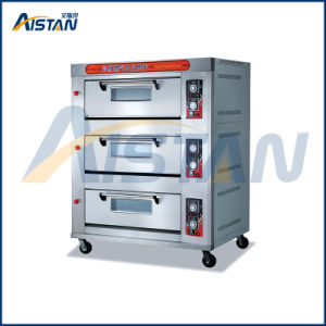Htr-60q Stainless Steel 3 Layer-6 Tray Gas Pizza Oven for Kitchen Appliance pictures & photos