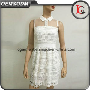 High Quality Factory Woman Cloth Elegant White Lace Dress Designs Sweet Sleeveless Shirt Collar Dress 2017 pictures & photos
