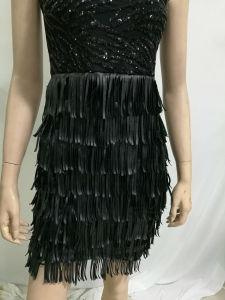 2017 Wholesale Women Party Dress Sleeveless Feather Paillette Patchwork Little Black Dress pictures & photos