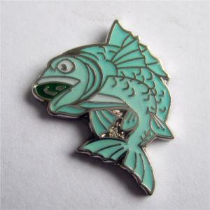 High Quality Silver Metal Cute Blue Fish Badge