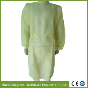 Waterproof PP+PE Non-Woven Yellow Isolation Gown, PE Coated Gown pictures & photos
