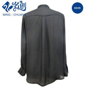 Newstyle Black Long Sleeve Pleated Loose Fashion Women Blouse pictures & photos