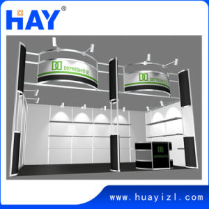 10X20FT Exhibition Booth Design with Shelves and Lighting