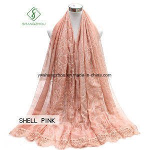 2017 Lady Fashion Silk Scarf with Ribbon Embroidery Lace Shawl pictures & photos