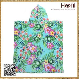 China Supplier Flower Velour Kids Poncho pictures & photos
